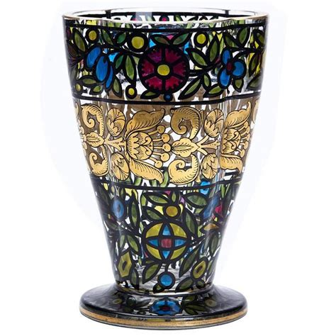bohemian glass vase julius mulhaus and co haida circa
