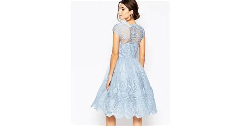 Premium Blue Lace Mid Slit Dress chi chi premium lace midi prom dress with bardot neck in blue lyst