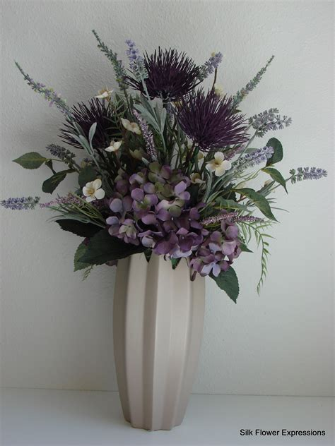Grey Vase With Flowers Purple Thistle Silk Flower Expressions