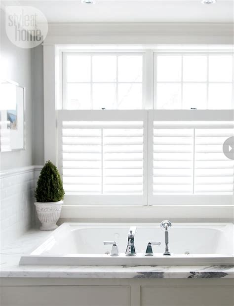 shutters bathroom window white plantation shutters master bath pinterest
