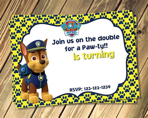 paw patrol birthday card template free free paw patrol birthday invites template