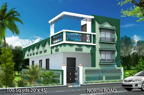100 sq yds 20x45 sq ft west face house 1bhk floor plan jpg way2nirman 100 sq yds 20x45 sq ft north face house 2bhk