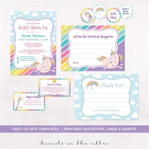 printable invitation kits baby shower unicorn rainbows baby shower invitation kit printable