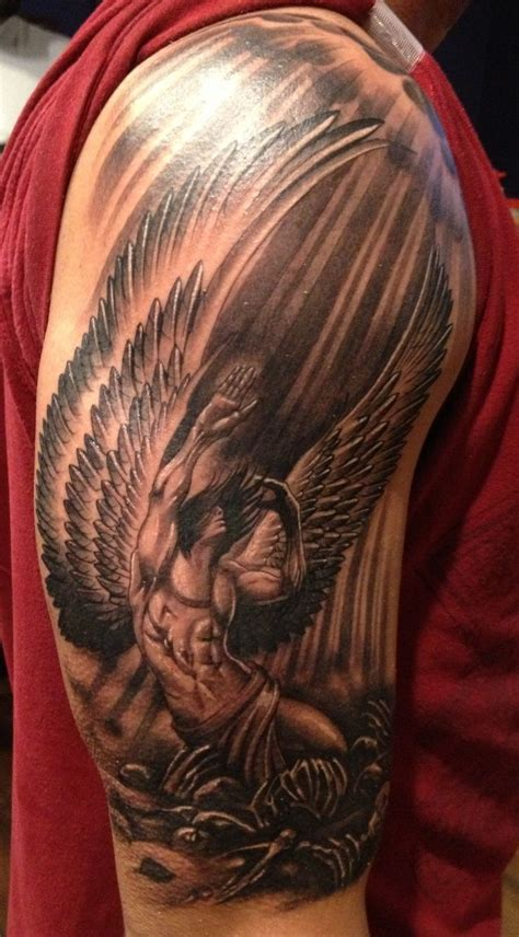 angel tattoo sleeve fallen fallen