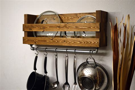 kitchen pot rack ideas rustic kitchen pot rack lid holder industrial by