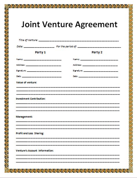 joint venture agreement template agreement templates free word s templates