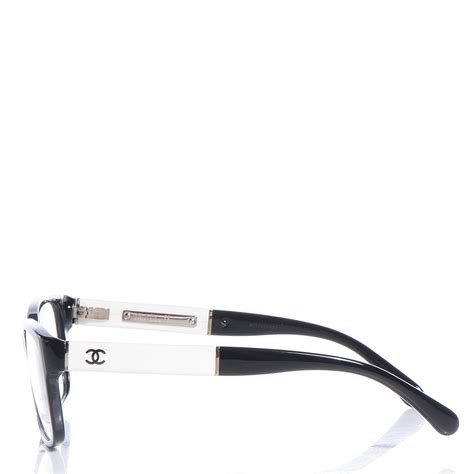 chanel acetate cc eyeglasses frames black white 80672