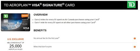 Aeroplan Gift Cards - air canada s new td aeroplan visa for us cardholders