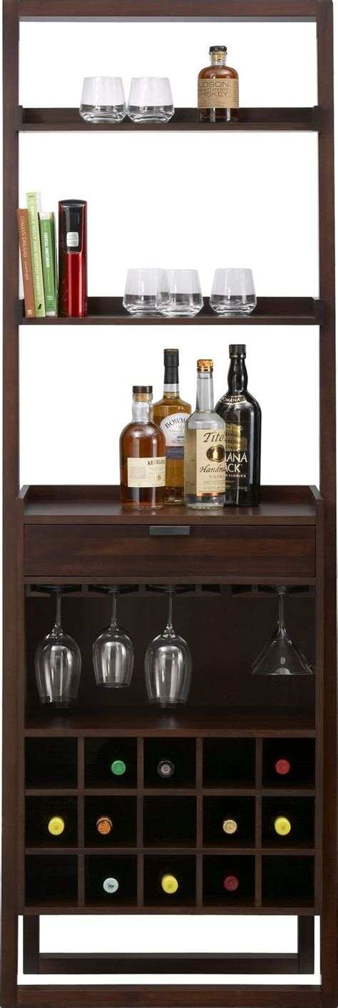 sloane leaning wine bar bookcase set sloane java leaning wine bar crate and barrel home bar