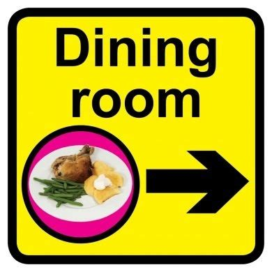 Dining Room Signs by Dining Room Sign With Right Arrow 300mm X 300mm