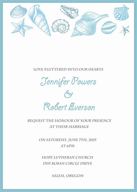 printable seashell invitation template shop beach wedding invitations online