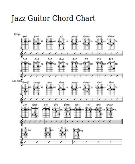 chord jazz guitar tutorial 13 guitar chord chart templates freesle exle