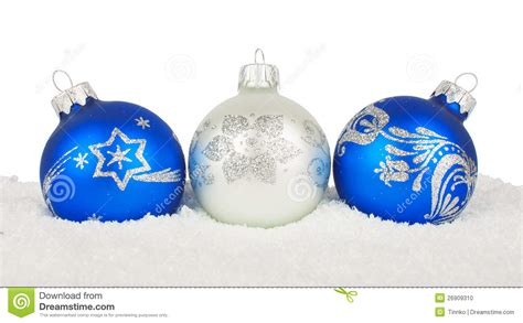 christmas blue baubles on snow stock photo image 26909310