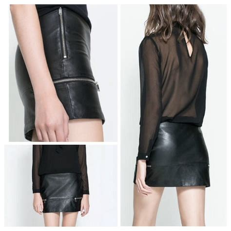 Zara Mini With Zips zara nwot zara leather mini skirt with zips from talia s closet on poshmark