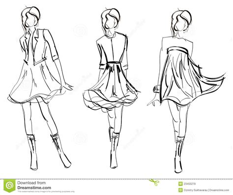 free layout sketch sketch fashion girl stock vector illustration of high