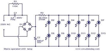 Led Light Bulbs Circuit Diagram Mains Operated Led L Zona Elektronika