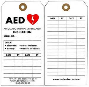 aed inspection tags aed inspection records 5 pack