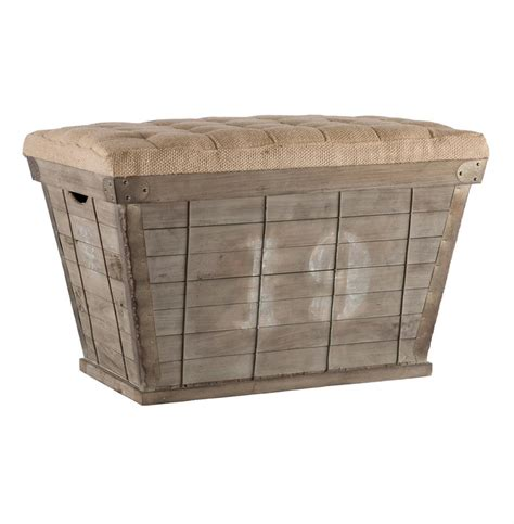 long ottoman with storage french country white lettering long storage crate burlap