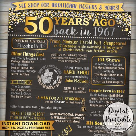 printable birthday poster 1967 birthday poster australia 1967 50th birthday gift