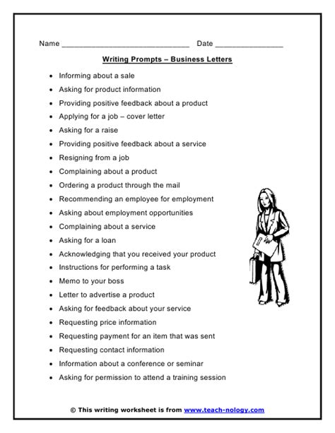 Business Letter Writing Ideas Business Letters Writing Prompts