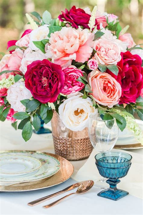 get the look pink silk flower arrangement for wedding