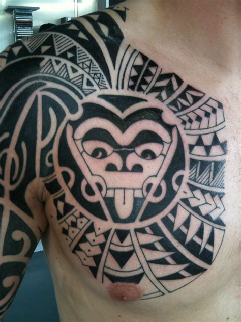 polynesian cross tattoo chest st