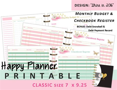 printable happy planner inserts happy planner monthly budget and checkbook register inserts