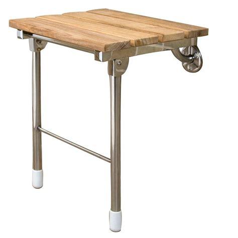 folding bench legs hardware 15 in teak wall mount slatted folding shower seat with