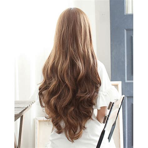 model rambut 1 cm wig rambut palsu model wavy 65 cm brown