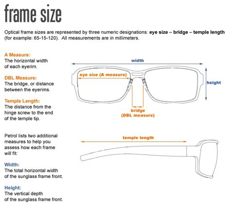 glasses frame sizing chart artein for