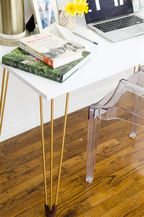 desk with gold legs diy desk with gold hairpin legs thou swell