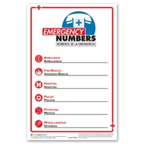 Emergency Numbers Card Template by Emergency Phone Number Poster