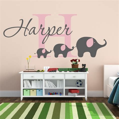 vinyl wall decals for nursery removable custom name elephant wall decal nursery baby