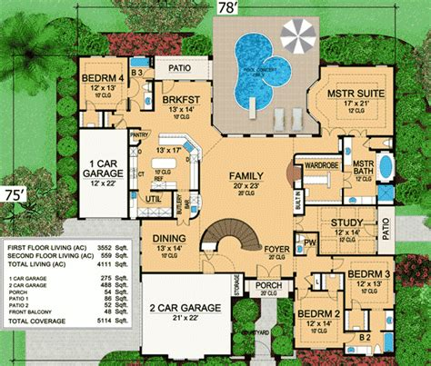 floor plans for a mansion mini mansion 36105tx 1st floor master suite cad available corner lot courtyard den