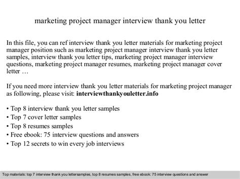 Thank You Letter For Marketing Marketing Project Manager