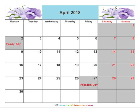 printable calendar 2018 south africa april 2018 calendar south africa free printable template