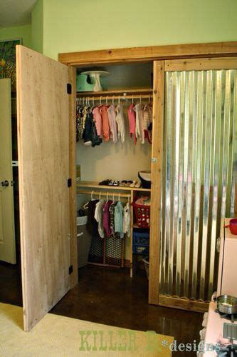closet doors  recycled wood  corrugated metal
