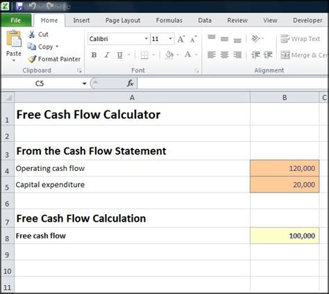 Exle Free Cash Flow Calculation | free cash flow calculator double entry bookkeeping