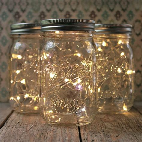 Mason Jar Fairy Lights Pint Small Mouth Warm White Set Of 3 Light Jars