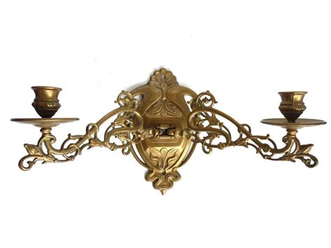 sconce wall sconce candle holder glass vintage brass wall