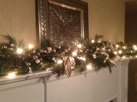 lighted garland for mantle christmas garland with lights for mantle www pixshark