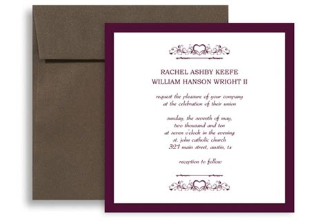 square card template for word purple white marriage printable wedding invitation 5x5 in