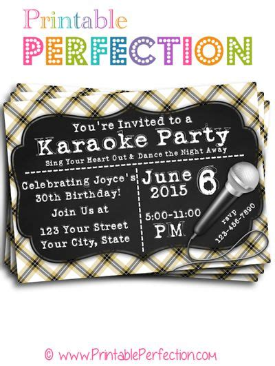 printable karaoke invitations birthday party invitation karaoke party horizontal
