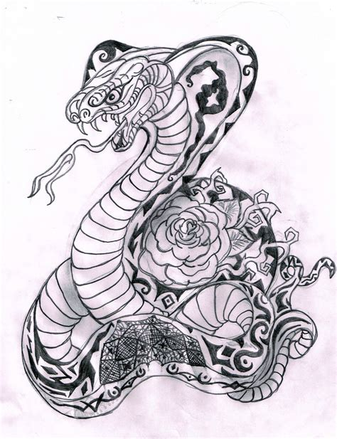 drawn tattoo king cobra pencil and in color drawn tattoo
