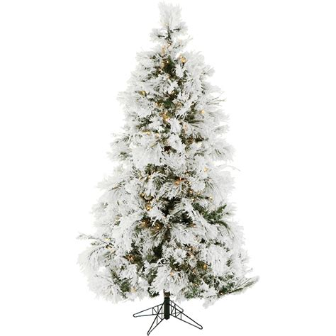 7 5 ft flocked snowy pine tree with clear led lighting ffsn075 5sn