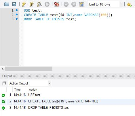 mysql how to drop table if exists in database sql