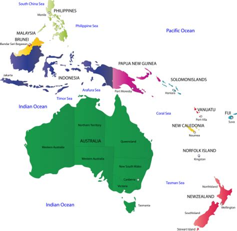 australia map with countries and capitals map of australia and oceania with countries and capitals