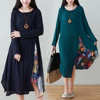 Print Panel Sleeve Dress buy zeoso sleeve print panel dress yesstyle