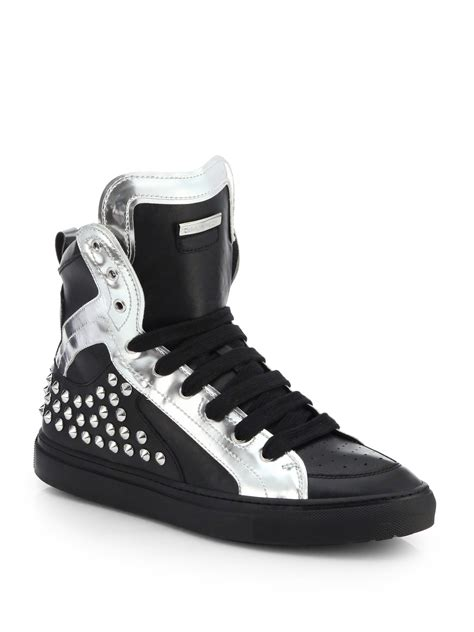 studded high top sneakers dsquared 178 studded leather high top sneakers in black for