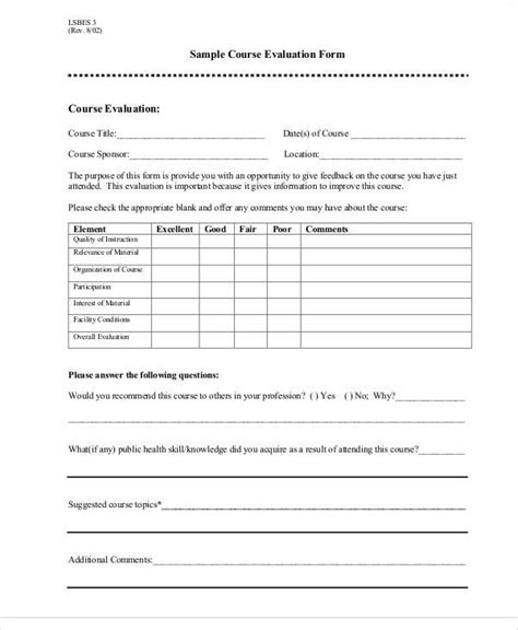 end of course evaluation template sle course evaluation forms sarahepps
